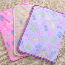 1pcs Pet Blanket Warm Soft Coral Velvet Dog Cat Hamster Sleep Mat Bone Paw Print Bed Mats Puppy Cushion For Small Dogs