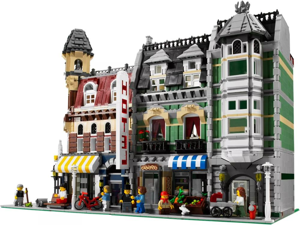 Купить с кэшбэком Creator City Green Grocer Supermarket Street Classic Expert Model Building Blocks Sets Bricks Kids Kits Toys Children Compatible