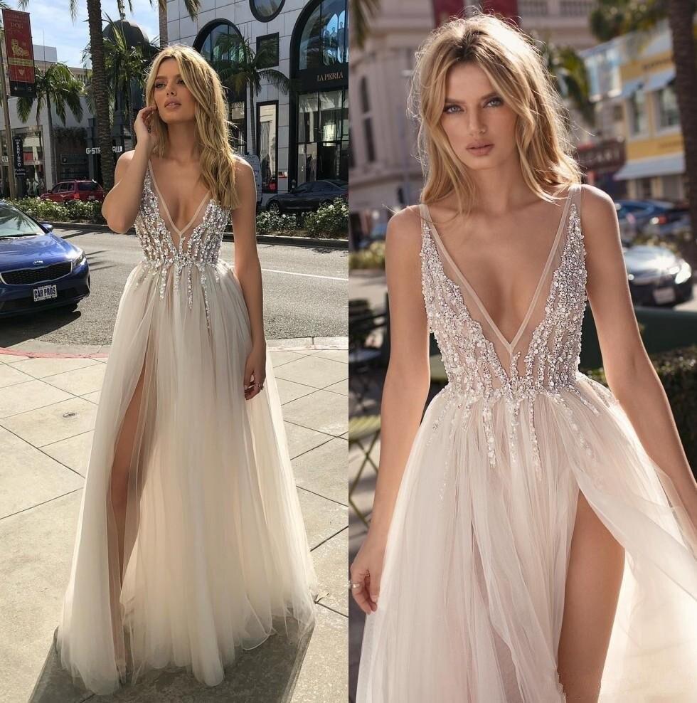 2020 Berta Modern Sexy Beach Wedding Dresses Beaded Deep V Neck Side Split Tulle A Line Bohemian Bridal Gowns
