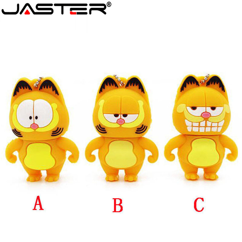 JASTER Cute Garfield Adorable USB Flash Drive 4GB 8GB 16GB 32GB 64GB Pendrives USB 2.0 Cle For Children's Gifts Pen Drive Disk
