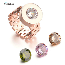 Visisap Creative Titanium Steel Hollow Rose Gold Color Rings for Women Man Punk Stone Exchangeable Ring Dropshipping Jewelry R06 visisap titanium steel wide men ring size 7 14 dropshipping yellow black steel gold color rings for birthday gifts jewelry s r35