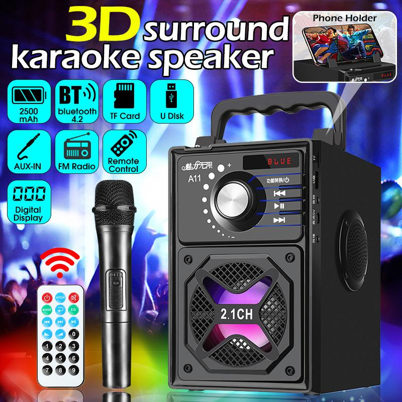 Portable Bass Speaker 3D Surround Wireless bluetooth Speaker Subwoofer Phone <font><b>Holder</b></font> with <font><b>Remote</b></font> Control LED Light USB/TF/AUX/FM image