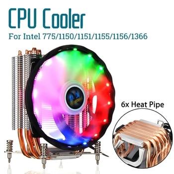 6 Heatpipe CPU Cooler Cooling Fan Quiet Fan Cooler 12cm Fan Radiator Heatsink Cooler for Intel 775/1150/1151/1155/1156/1366/2011
