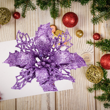Glitter Hollow Artificial Christmas Flower Ornament Xmas Tree  Wedding Flowers Ornaments Decoration 21