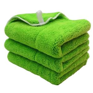 Image 1 - Chiffon de nettoyage de voiture en peluche, 3 pièces, 40cm x 30cm, 800g/m2, peluche Super épaisse, chiffon de nettoyage de voiture, lavage, cire, polissage, serviette de détail