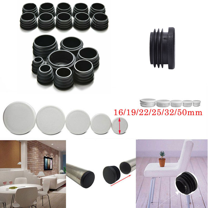 120pcs Round Plastic White Black Blanking End Cap Caps Tube Pipe Inserts Plug Bung For Furniture Chair Table Steel Leg Protector