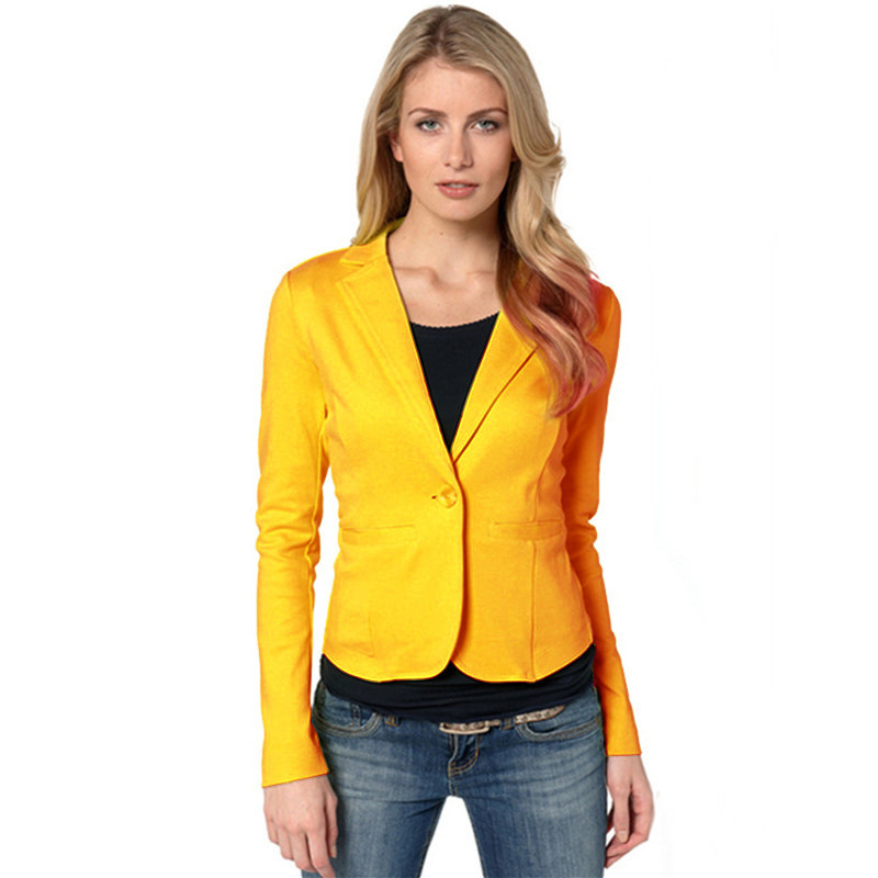 Women Casual Long Sleeve Solid Single Button Blazers Ladies Notched Tops Spring Coat Suits Feminino Daily Wear Cardigan