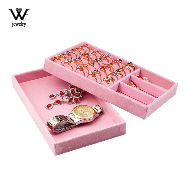WE Pink Velvet Suede Ring Earrings Organizer Ear Studs Jewelry Display Stand Holder Rack Showcase Plate Fashion Jewelry Box