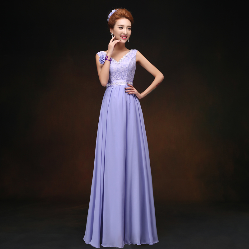 Violet V-neck Chiffon   Bridesmaid     Dress   Junior Plus Size Vestido Azul Marino Maid of Honor   Dresses   for Weddings Sexy Prom   Dress
