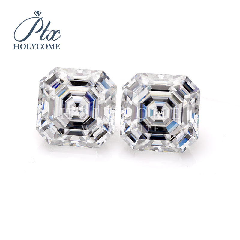 Fancy stones manufacture direct selling 5.5x5.5mm 1ct asscher cut white color moissanite diamond gemstones кольца браслеты ьги с
