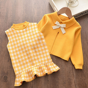 Melario Baby Girls Dress Autumn Winter Girls Clothes Top and Plaid Princess Dresses Baby Sweater Knitted Dress 2Pcs Kids Dress(China)