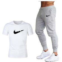 2019 Summer Hot Sale Brand Sets T Shirts+pants Two Pieces Casual Tracksuit Mens Shirt Gyms Fitness trouser Menswear