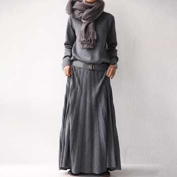 Women Long Sweater Dress Autumn Winter Elegant Office Ladies One Piece Pullover Korean Causal Maxi Pleated Knitted Dresses Black 2020 elegant knitted sweater dress women korean causal autumn spring hollow out long sleeve loose pullover long dress black