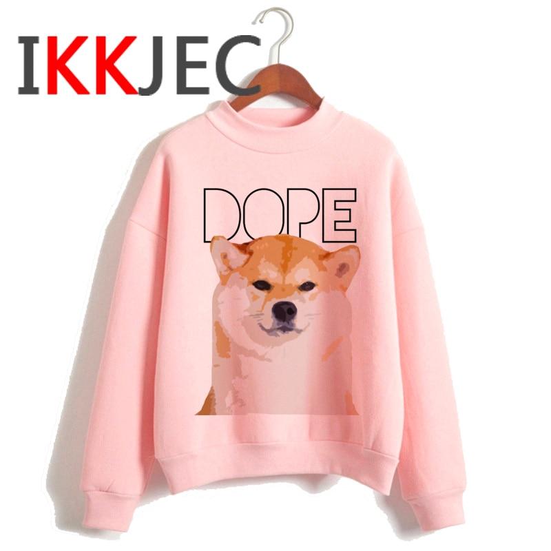 Shiba Inu Kawaii Dogs Funny Cartoon Grunge Aesthetic Hoodies Women Ladies Harajuku Cute Anime Sweatshirt Streetwear Hodoy Female 24