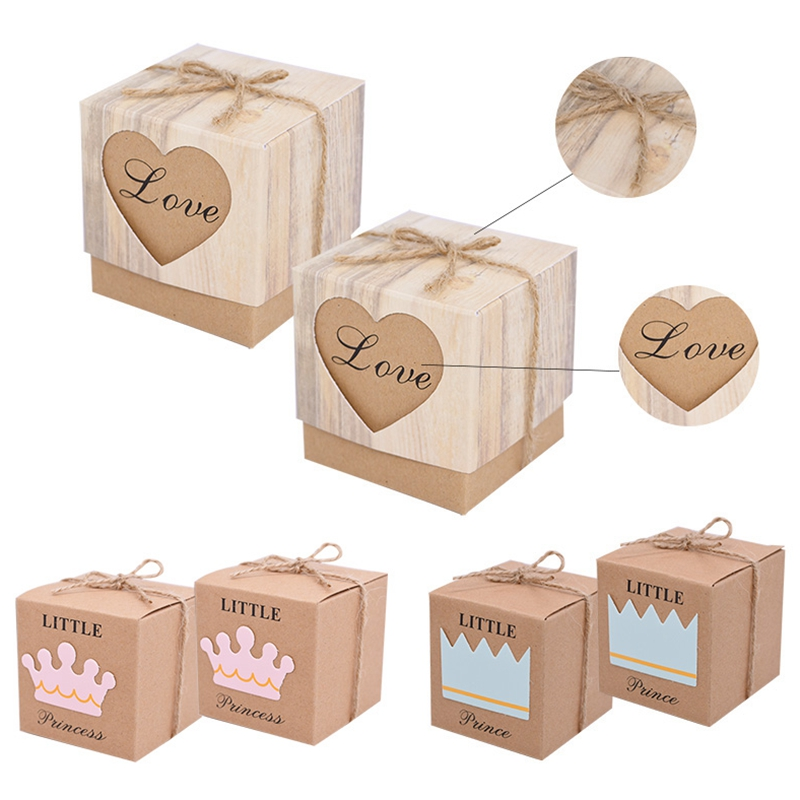 10pcs Kraft Paper Candy Gift Box Love Heart Crown Gifts Bags Party Favors For Guests Wedding Baby Shower Birthday Decoration