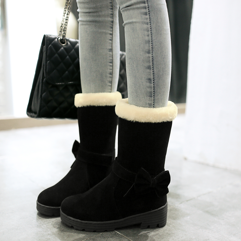 ENMAYER Round Toe Cow Suede Snow Boots Mid Calf Slip On Hoof Heels Solid Shoes Short Plush Butterfly knot Cheap Women 39 s Boots in Mid Calf Boots from Shoes