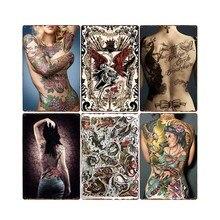 Tatuaje de chica cartel de metal vintage placas tatuaje tienda decorativo pin up Poster café Club decoración de la pared decoración del hogar 20x30cm