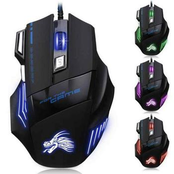 Ergonomic 5500 Dpi Led Optical Usb Wired Gaming Mouse 7 Buttons Gamer Laptop Computer Mice Silent Mause With Backlight For PC