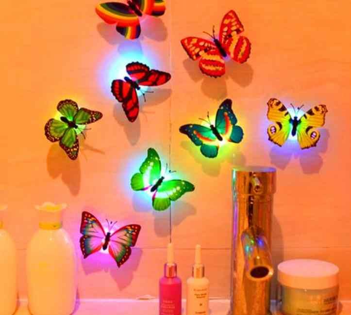 Kreatif Lampu Malam Berwarna-warni Mengubah Kupu-kupu LED Malam Lampu Lampu Kamar Rumah Pesta Meja Dekorasi Dinding Kamar Tidur Anak Decals