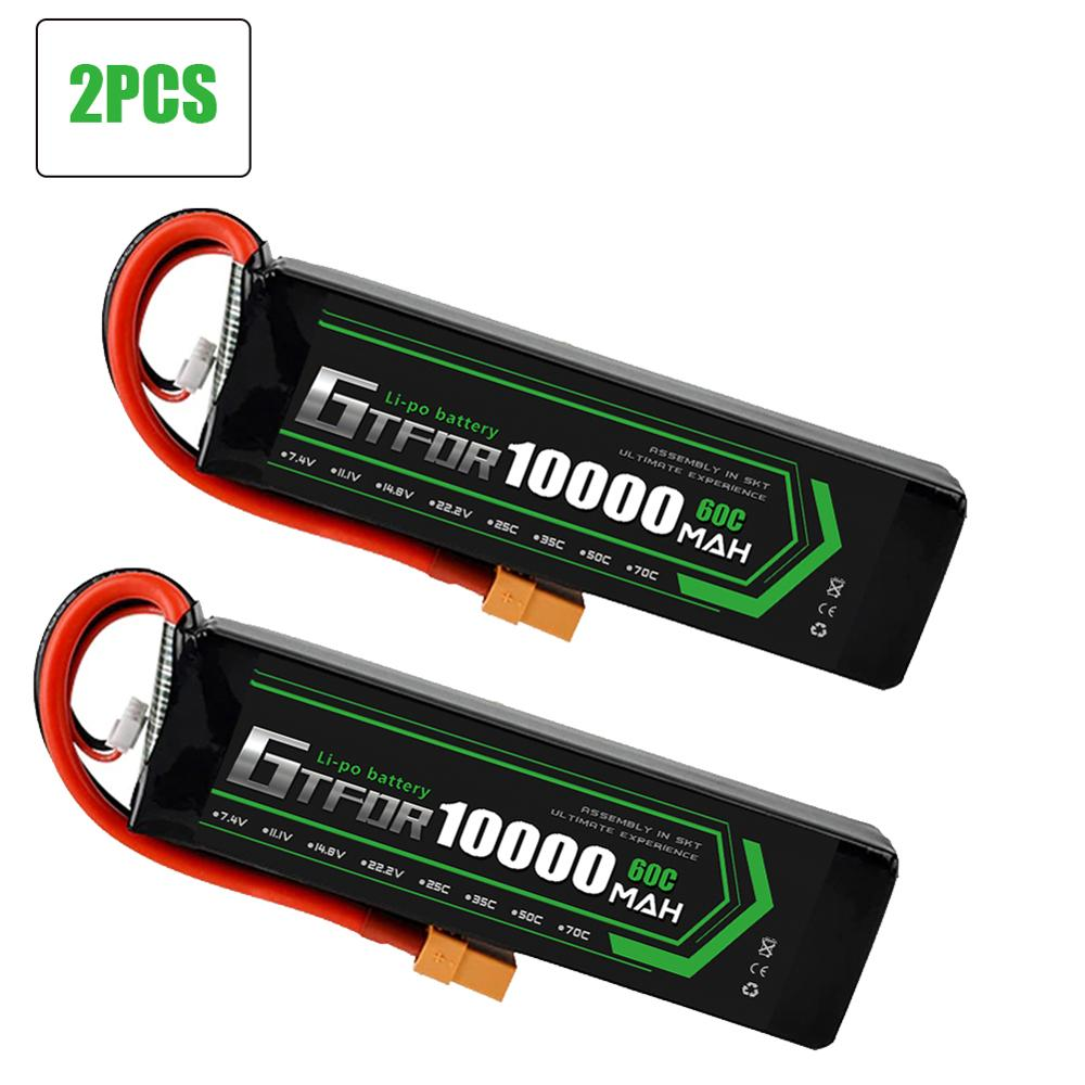 GTFDR Battery Lipo 2S 7.4V 10000mah 60C 120C HV 3S 11.4V 5200mah 20C 40C For Rc Car Drone FPV Walkera QR X350 PRO Quadcopter