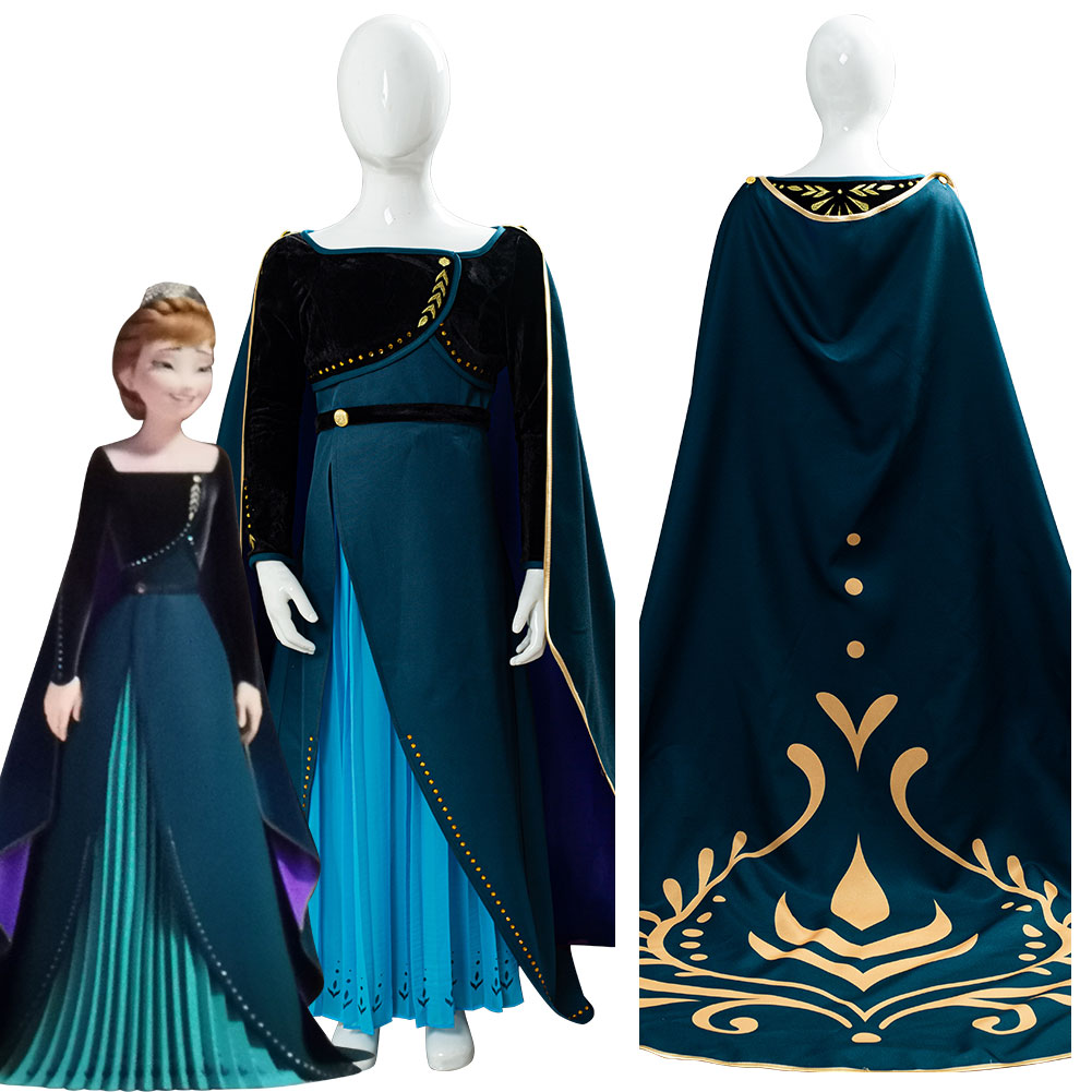 Kids Child Princess Anna Cosplay Costume Cloak Long Dress Outfit Dressup For Children Little Girls Halloween Carnival Costumes