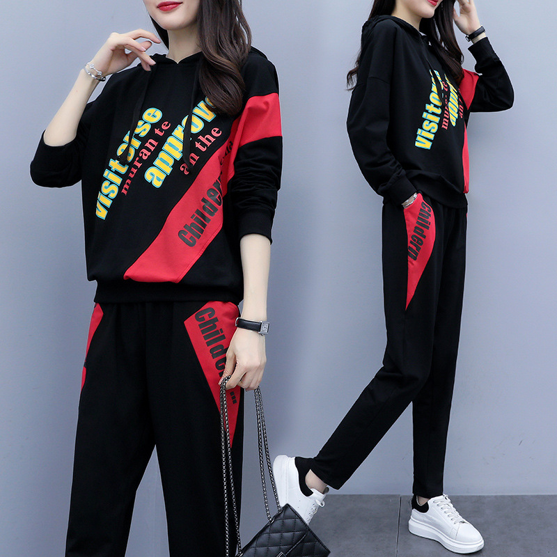 Large Size Dress Western Style By Age Lettered Long Sleeve Sports Set Spring And Autumn New Style Fat Mm Slimming Cover Meat Two