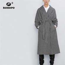 ROHOPO Houndstooth Belted Notched Collar Midi Grey Blend Coat Buckle Buttons Culf Front welt pockets Autumn Plaid Capa #9293 plus shawl collar belted plaid romper