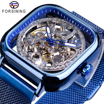 цена на Forsining Blue Watches For Mens Automatic Mechanical Fashion Dress Square Skeleton Wrist Watch Slim Mesh Steel Band Analog Clock