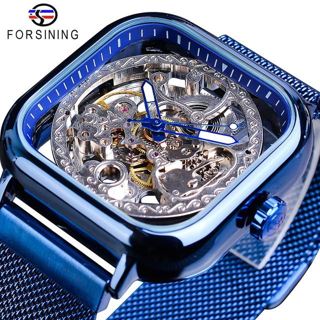 Forsining Blue Watches For Mens Automatic Mechanical Fashion Dress Square Skeleton Wrist Watch Slim Mesh Steel Band Analog Clock