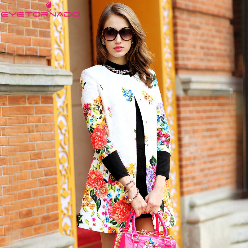 Windbreaker-Coat Floral-Print Three-Quarter-Sleeve Trench Slim-O-Neck Vintage Autumn