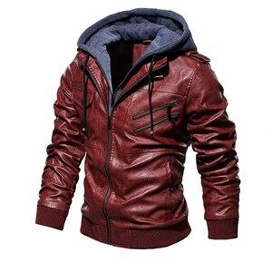 Image 4 - Męskie ze skóry PU kurtka mężczyźni motocykl kaptur płaszcz zimowy człowiek ciepłe skórzane kurtki męskie Slim Fit Bomber wiatrówka