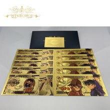 1 pces novo japão detetive conan cédula anime cédula detetive em 24k ouro dinheiro de papel para presentes