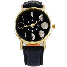 Луна изменение фаза лунный затмение часы женщины стильный спорт часы полиуретан кожа браслет часы для женщин часы час