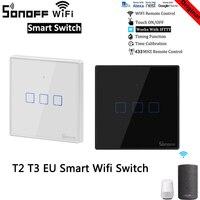 Sonoff-interruptor de luz inteligente TX T2/T3 EU, Control remoto por aplicación, temporizador, Control por voz con Google Home y Alexa