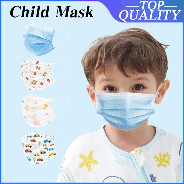 50Pcs 3 layer Child mask Disposable Elastic Mouth Soft BreathableSoft Breathable Flu Hygiene Children's  Kids Face Mask Cartoon