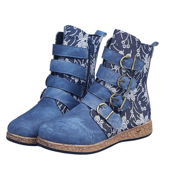 New Socofy Women Boots Retro Printed Metal Buckle Soft Leather Zipper Ankle Boots Ladies Shoes Women Botines Mujer 2020 laigzem women over the knee boots faux leather waterproof back long zipper sexy ladies shoes womam botines mujer big size 4 19
