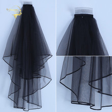 Cheap Simple Two Layers Short Tulle Ivory Black Wedding Bridal Veils With Comb Woman Marry Gifts 2020 New Accessories