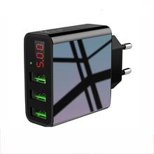 USB شاحن آيفون شاحن LED عرض 3 USB 5 فولت 3A شحن سريع الجدار شاحن آيفون سامسونج شاومي ماكس 2.4A تهمة