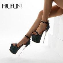 Plataforma sandálias femininas plus tamanho 35-42 peep toe stiletto ultra 18cm sexy saltos altos fivela 2021 modelo sapatos de casamento para mulher
