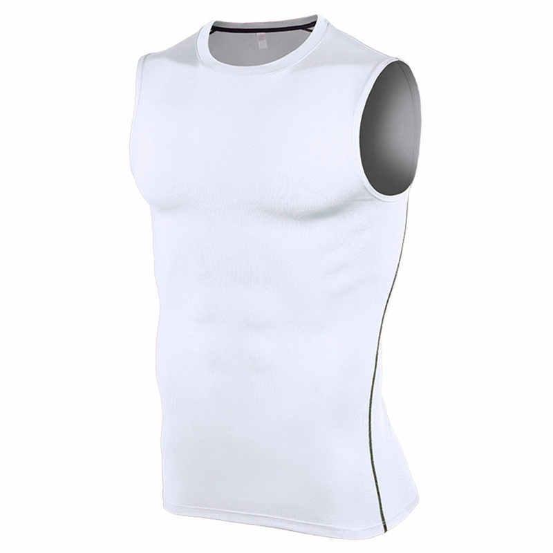 Tanque de compressão superior camada base masculina roupas 2019 sem mangas secagem rápida apertado correndo fitness gym sports tshirt vest 7