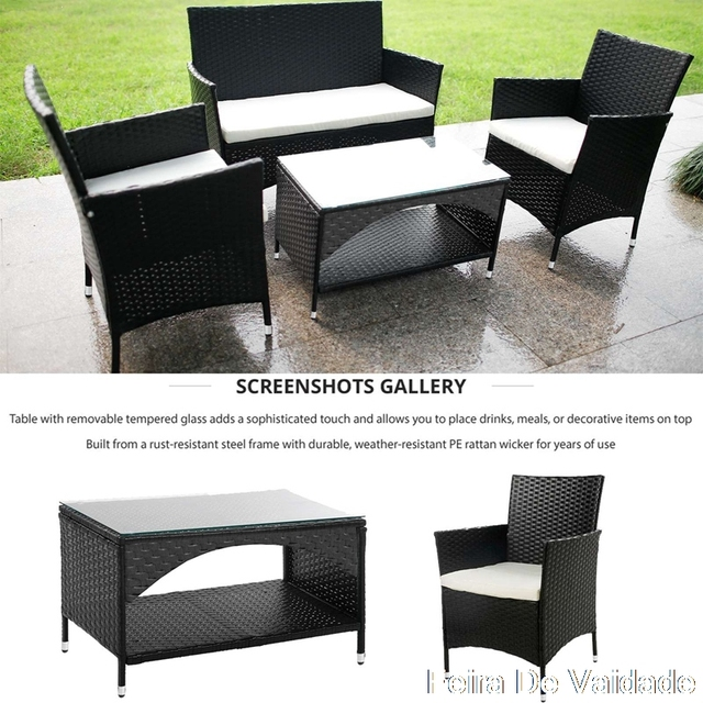 4 PCS  Garden Conversation Wicker Sofa Set 2