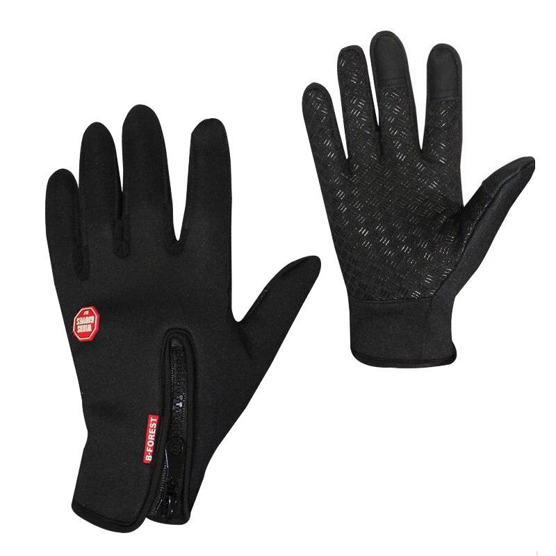 Теплые перчатки для верховой езды, ветрозащитные, Luva Ciclismo, перчатки для верховой езды с сенсорным экраном для женщин, мужчин и детей - Цвет: Черный