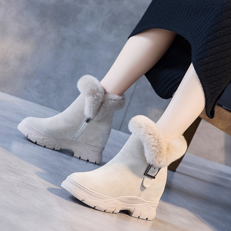Winter Shoes 2019 Warm Fur Women Snow Boots Genuine Leather Ankle Boots For Woman Hidden Heel Shoe Women Winter Shoes Snow Boot