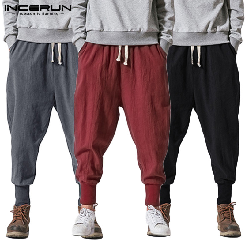 INCERUN Men Harem Pants Loose Cotton Joggers Solid Drawstring 2020 Drop-Crotch Trousers Men Streetwear Casual Sweatpants S-5XL