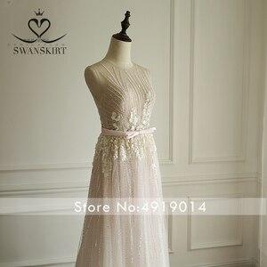 Image 4 - Boho rosa frisado apliques vestido de casamento 2020 swanskirt luxo lantejoulas tule princesa tribunal trem vestido de noiva robe de mariee a249