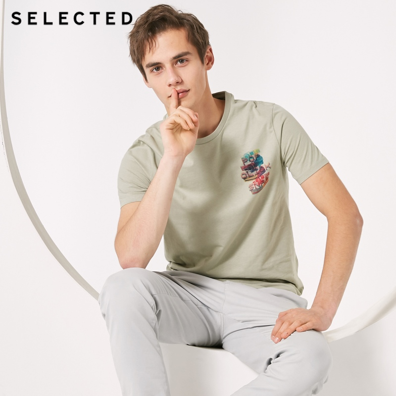 SELECTED 100% Cotton Printed Round Neckline Short-sleeved T-shirt S|419101521