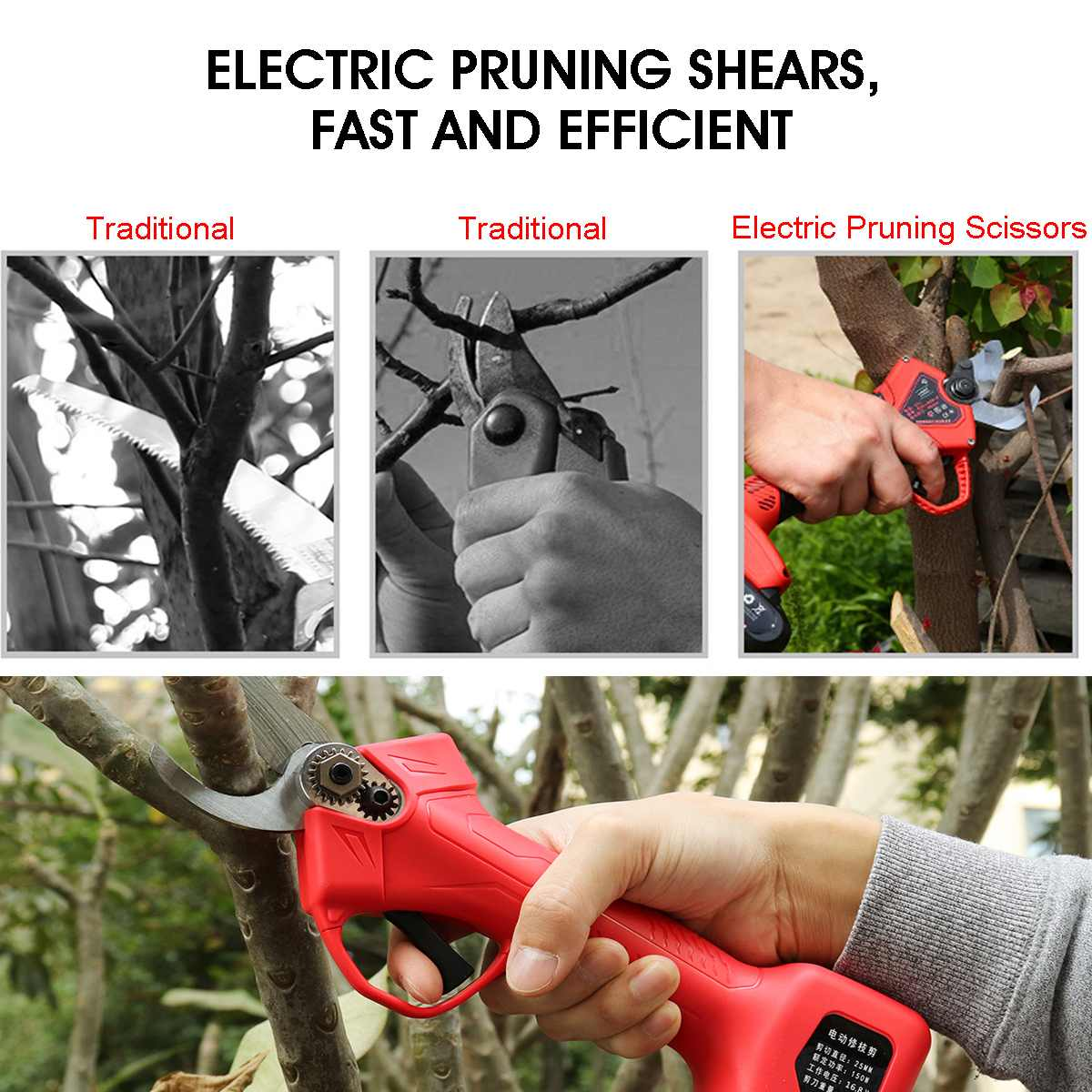 Wireless 16.8V 25mm Electric Garden Scissor for Brach Pruning with Li-ion Battery and USB Charger 8