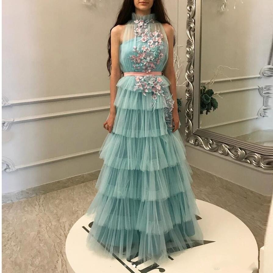 Ice Blue Evening Party Dresses 2019 Abendkleider Tiered Evening Gowns With Floral Applique Long Formal Party Dress Gorgeous