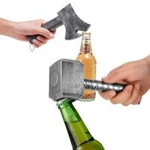 Creative Retro Beer Bottle Openers Multifunction Hammer Of Thor Shaped Beer Corkscrew Long Handle Beer Bottle Opener With Magnet
