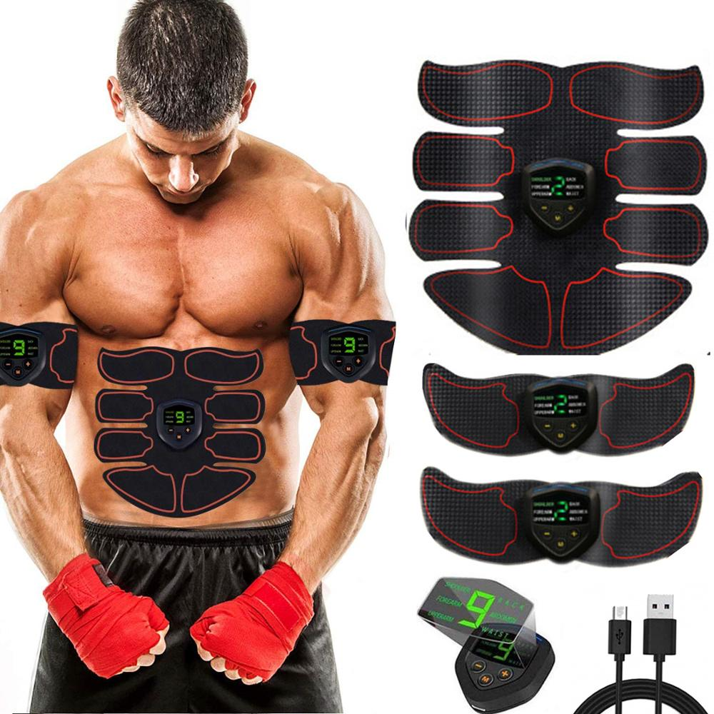 ABS Stimulator Muscle Toner Abdominal Toning Belt Muscle EMS Trainer Gym Home Fitness Equipment 6 Modes 10 Levels USB Charge